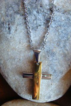 Σταυρος ατσαλι σε ασημι-χρυσο με επισης ατσαλινη αλυσιδα 18€ Arrow Necklace, Chain, Jewelry, Jewlery, Jewerly, Necklaces, Schmuck, Jewels, Jewelery