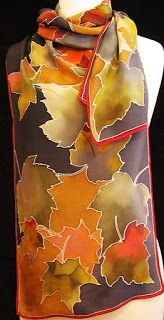 Hellenne Vermillion Art: Fall Maple Leaves Silk Scarf Hand Painted Sarees, Hand Painted Fabric, Painted Silk, Fabric Painting, Fabric Art, Batik Art, Silk Art, Scarf Design, Silk Scarves