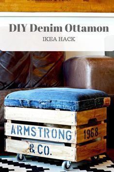 Un pouf réalisé avec une caisse en bois montée sur roulettes et un coussin en jeans déco DIY