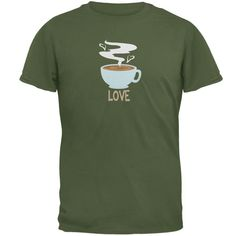 Love Coffee Military Green Adult T-Shirt