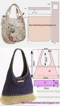 Las bolsas para un verano. Las bolsas para un verano. Handbag Patterns, Bag Patterns To Sew, Sewing Patterns, Tote Pattern, Summer Patterns, Diy Sac, Hippie Bags, Denim Crafts, Patchwork Bags