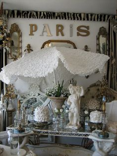 Replace ugly outdoor umbrella fabric with lace. Beast to beauty!