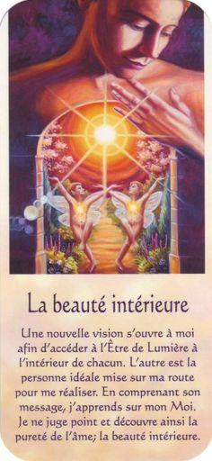 la beauté intérieure + texte Vie Positive, Positive Mind, Positive Affirmations, Positive Thoughts, Mario, Spiritus, Design Your Life, Messages, Oracle Cards