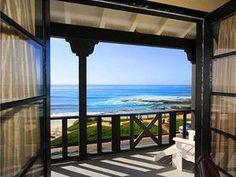 Master bedroom view in a La Jolla, California home.