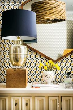 Trend Watch :: Honeycomb - some seriously amazing wallpaper (and mirror).