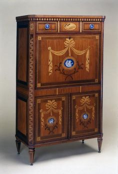 Louis Seize secretaire, marquetry with porcelain plaques French Furniture, Fine Furniture, Antique Furniture, Wood Furniture, Furniture Design, Louis Seize, Homemade Furniture, Holland, Antique Cabinets