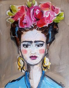 Frida Kahlo Painting Canvas watercolor wash by DevinePaintings