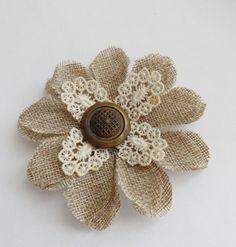 Gerber Daisy Burlap Lace Flower|Vintage Lace Burlap Flower |Rustic Burlap Flower Broach Pin by camelotvintage on Etsy