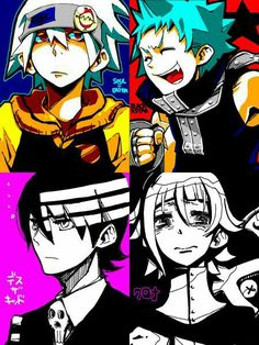 Soul, Black Star, Death the Kid, Crona, cool, text; Soul Eater