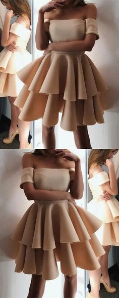 Newest Simple A-line Off-shoulder Short Sleeves Homecoming Dresses With Ruffles, HD0419#homecoming #homecomingdresses #2020homecoming #homecomingdress