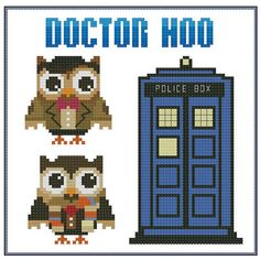 Dr. Hoo Who Hooties Cross Stitch Pattern PDF Chart door PinoyStitch, $5.00