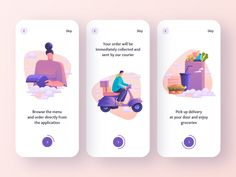 Food Delivery - Mobile App designed by Anastasia. Connect with them on Dribbble; the global community for designers and creative professionals. Web Design, App Ui Design, Interface Design, Design Layouts, User Interface, Onboarding App, Ui Design Mobile, Mobile Ui, Delivery App
