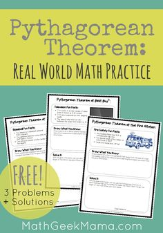 Introducing your kids to the Pythagorean Theorem? Or just looking for some real life practice and examples? This set of Pythagorean Theorem practice is a great way to help kids see the importance of math in their everyday life. Get 3 practice problems plu Teaching Geometry, Teaching Math, Teaching Ideas, Math Worksheets, Math Resources, 7th Grade Math, Math 8, Math Class, Math Teacher