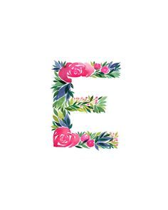 Watercolor alphabet Letter E print Initial E by TulipPoplarCo