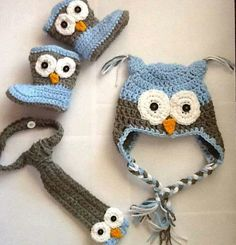 Owl crochet hat boots tie baby outfit