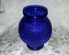 Cobalt Blue Glass Hobnail Vase