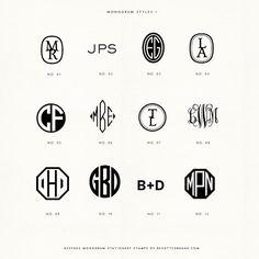 Custom monogram handled rubber stamps by BesottedBrand on Etsy Logos, Typography Logo, Logo Branding, Monogram Styles, Monogram Fonts, Wm Logo, Monogrammed Stationery, Design Graphique, Wedding Art