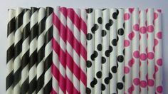 50 Rock Star Party Paper Straws- Mixed Hot Pink and Black Striped and  Polka Dot Straw- Monster High, Princess Party Decorations via Etsy