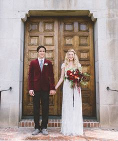 inspiration | merlot wedding accents and the Mira Gown from BHLDN | via: green wedding shoes