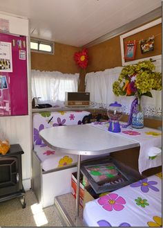 Glamping Trailers Interiors | What gal wouldn't want a feminine touch after working on airplane ...
