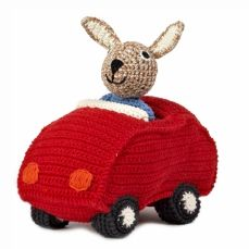 Crochet rabbit in car of Anne-Claire Petit