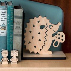 Hedgehog Wood Bookend Modern Baby Nursery by graphicspaceswood, $48.00