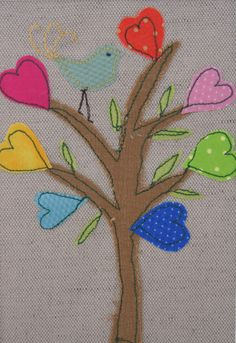 Greetings cards of textile embroideries - bird and heart tree. Sweet!