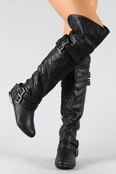 Vickie-16H Buckle Slouchy Thigh High Boot. I may need these to ensure my happiness and well being....