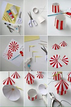 DIY Circus Party Hats discovered by mg on We Heart It Circus Carnival Party, Carnival Themed Party, Carnival Birthday Parties, Circus Birthday, Birthday Party Themes, Circus Wedding, Circus Circus, Diy Carnival, Carnival Costumes
