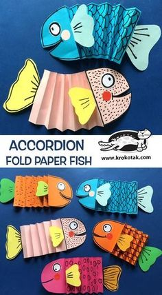 Accordion paper fish DIY - children activities, more than 2000 coloring pagesKind, Grade, or Grade - Accordian Fish krokotak We love paper crafts and we love DIY Fish Crafts. Together they make this ultimate collection of easy DIY Paper Fish Crafts! Paper Crafts For Kids, Projects For Kids, Diy For Kids, Paper Crafting, Fun Crafts, Art Projects, Diy Paper, Fish Paper Craft, Fish Crafts Kids