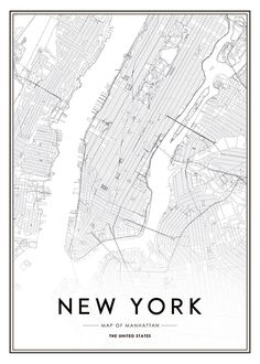 "Poster von New York. Stilvolles Schwarz-Weiß-Foto mit dem Text ""New York City""…. Poster of New York. Stylish black and white photo with the text ""New York City"". The poster fits well into a frame, whether in a modern or classic Einrichtung. New York Poster, London Poster, City Map Poster, Map Of New York, World Map Poster, New York Art, Carte New York, Photo Pop Art"