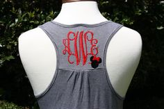Monogrammed Women's Black/White Striped Racerback Tank with Embroidered Minnie - Fully Customizable on Etsy, $30.00