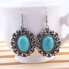 Tibetan Turquoise Stone Earrings
