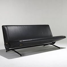 Osvaldo Borsani; EnameledSteel, Leather and Brass Sleeper Sofa for Tecno, 1950s.