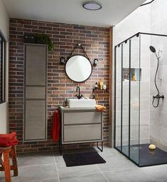 Diseños de Baños 2021 2020 - Estilos y Consejos – ÐecoraIdeas Rustic Bathrooms, Small Bathroom, Plumbing Installation, Hanging Cabinet, Large Shower, Shower Screen, Contemporary Bathrooms, Built In Storage, Bathroom Furniture