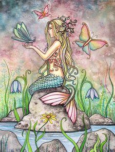 Mermaid Art Fantasy Print by Molly Harrison 12 x 16 'Creekside Magic' via Etsy. For the girls bathroom Magical Creatures, Fantasy Creatures, Mermaid Poster, Mermaid Fairy, Mermaids And Mermen, Merfolk, Fairy Art, The Little Mermaid, Dragons