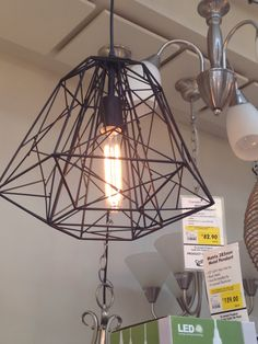 Geometric pendant light. Bunnings.