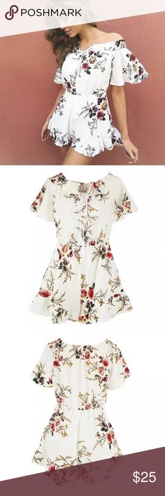 💐New arrival💐Off Shoulder Floral Romper, S-XL 💠Material: cotton blend. 💠Color: white 💠Size: refer to chart 💠 Feature: off shoulder, tassel tie, floral print, ruffle detail 💠Care: cold water wash, hang try. Other