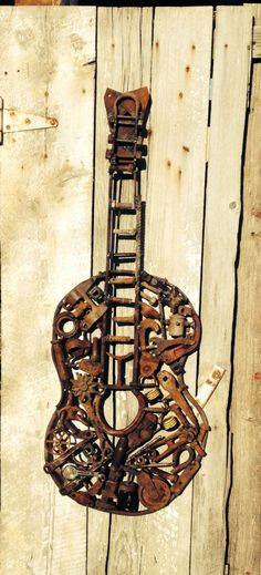 Found object metal guitar sculpture by greenstreetcreations, $350.00