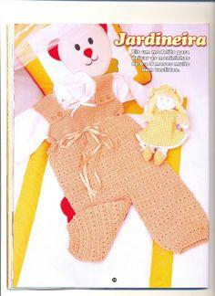Crochê Tricô - Gráficos: Jardineira (Macacão) de Bebê