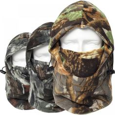 Cap Winter Face And Neck Warmers Fleece Camouflage Cap Balaclava Trekking Riding Ski Hunting Thermal Hat Wind-proof Mask[!size:As shown in the picture Fish Mask, Real Tree Camouflage, Motorcycle Gloves, Ski Hats, Full Face Mask, Camo Patterns, Balaclava, Leather Gloves, Neck Warmer