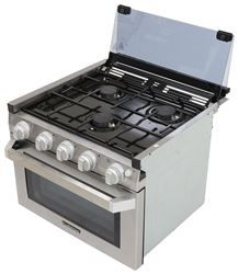 Cook, bake, fry, and grill while on the road with this combined cooktop range and oven. Hinged glass cover protects cooktop and acts as a backsplash. Oven Burner, Stove Oven, Kitchen Stove, Kitchen Cabinets, Green Kitchen, Kitchen Decor, Kitchen Ideas, Kitchen Design, Camper Stove