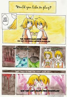 Tea Time The First Alice-[link] The Second Alice-[link] The Third Alice-[link] The Fourth Alices-[link] EDIT: Thanks to These comic strips are now the MV for the song on youtube-[link]