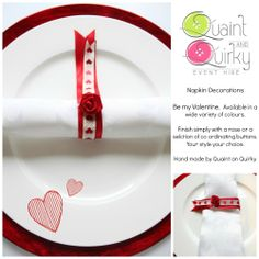 One example of the Valentine collection, can be made in a range of colours to suit your theme.