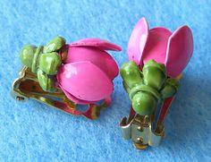 Vintage Coro Earrings Pretty in Pink Tulips by BuyVintageJewelry, $15.00