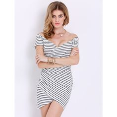 White Short Sleeve Striped Bodycon Dress ($17) ❤ liked on Polyvore featuring dresses, black and white, bodycon dress, sexy bodycon dresses, white bodycon dress, black white dress and long-sleeve mini dress