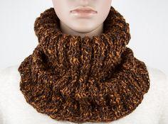 Bonnet Echarpe Snood unisexe Boho Hippie Oversize Long tricot à la main  Colorant mélange Marron Rouille 78d03320128