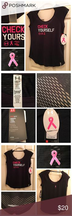 """Under Armour """"Power in Pink"""" Stylish Work-Out  Top Fashionable Gym to Street work-out top with mesh back keeps you cool!  Show your """"Pink"""" pride while wearing this pink detail enhanced top🎀💕💗💕🎀 Under Armour Tops"""