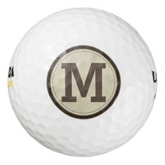 Distressed Cowhide Look Emblem with Monogram Pack Of Golf Balls