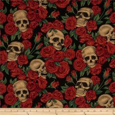 Resting in Roses Skulls & Roses Black from @fabricdotcom  Designed by the DeLeon Design Group for Alexander Henry, this cotton print fabric is perfect for quilting, apparel, crafts, and home decor items. Colors include tan, red, green and black.